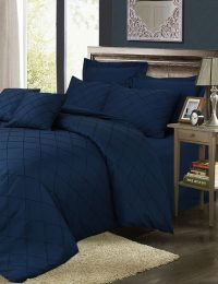 Pinch Pleat Duvet Cover Set Navy Blue Color - 8 Pieces