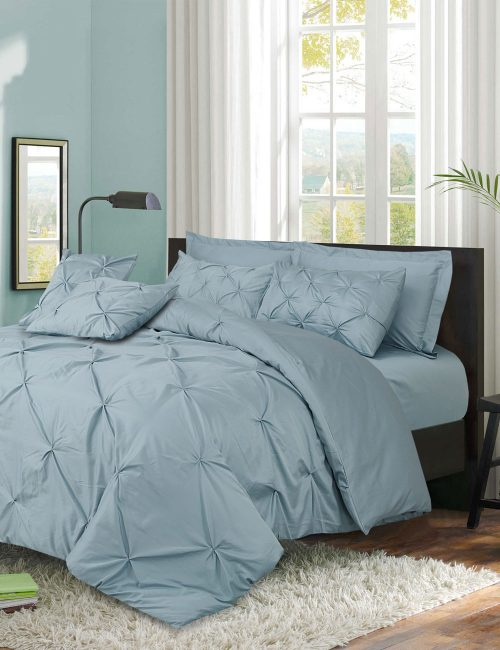 Pinch Pleat Duvet Cover Set Green