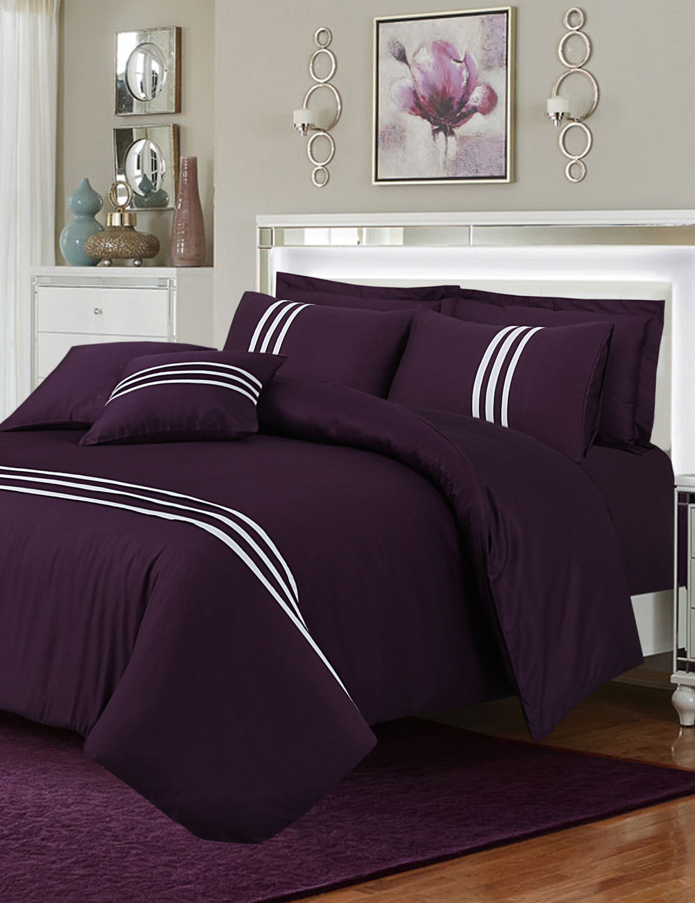 Plain Weave Duvet Cover Set – 8 Pieces : Magenta