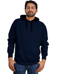 370 GSM, Heavy Fleece Pullover Hoodies For Men in Navy Color