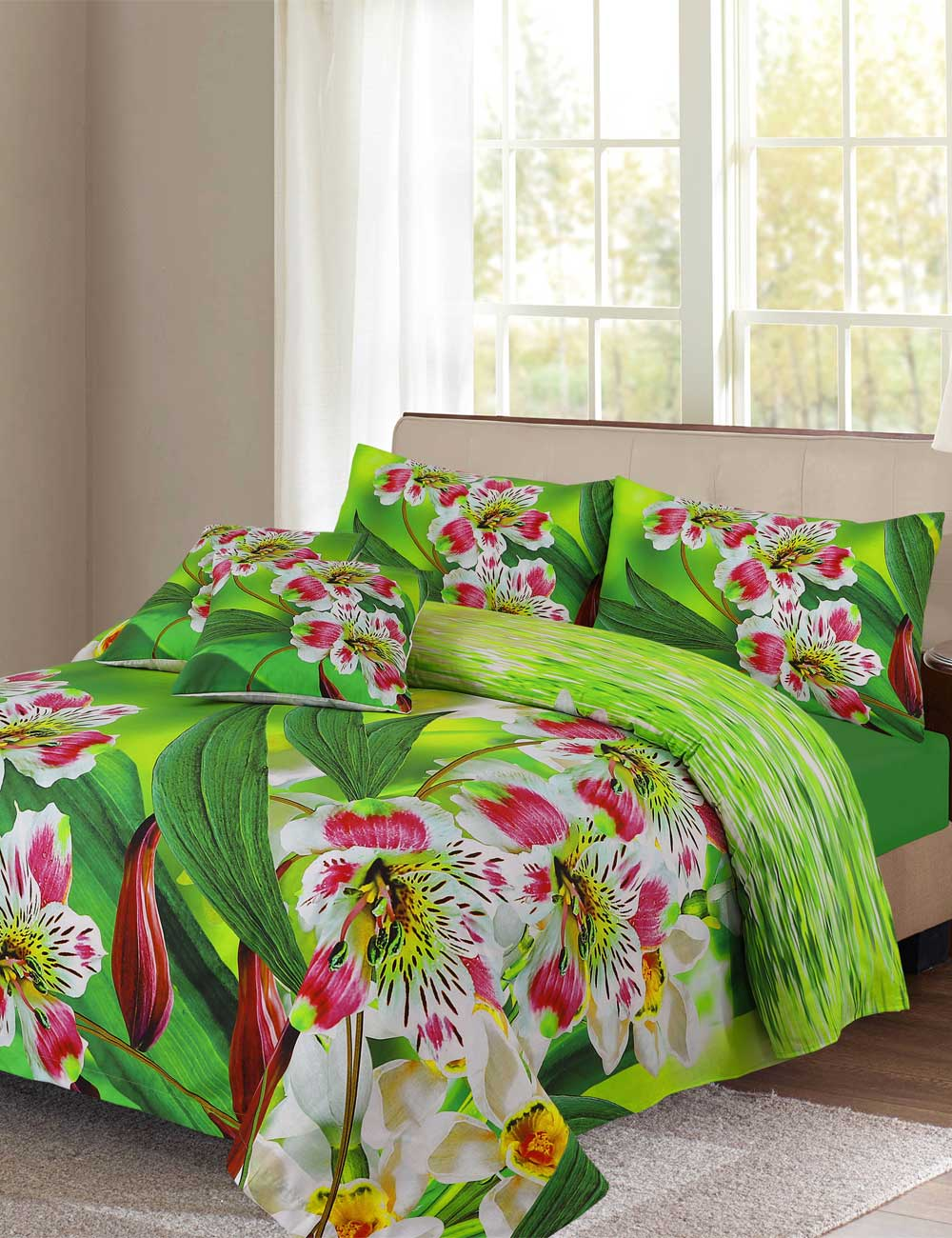 Lilly Flower Digital Printed 3D Bed Sheet Set