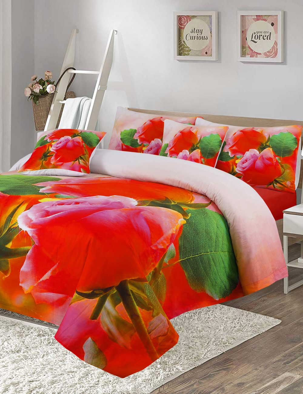 Red Rose Digital Printed 3D Bed Sheet Set
