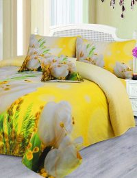 Lotus Flower Digital Printed 3D Bed Sheet Set