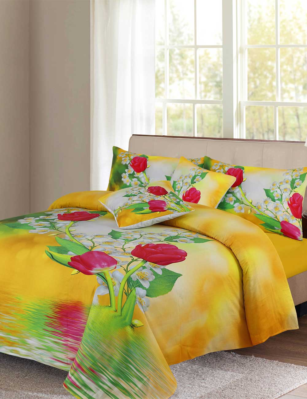 Rose & Tulips Digital Printed 3D Bed Sheet Set