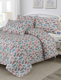 Contour Feathers Digital Printed 3D Bed Sheet Set