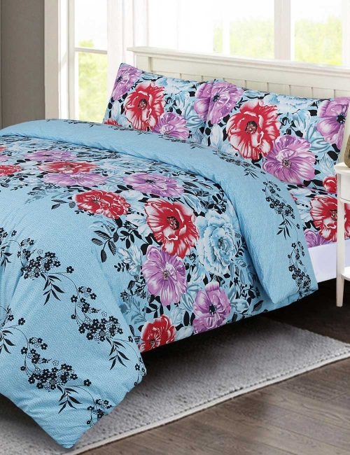 Floral Duvet Cover Set - Cyan Rose