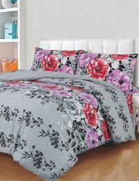 Floral Duvet Cover Set - 3 Pieces : Gray Rose