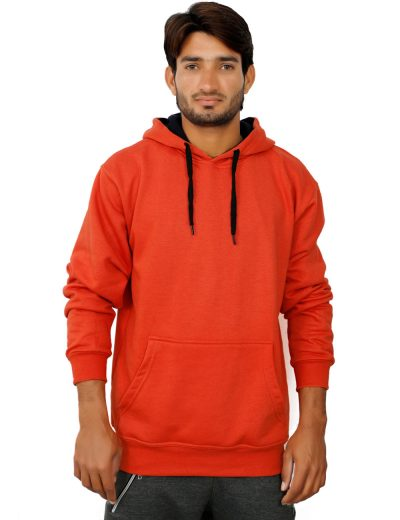 370 GSM, Heavy Fleece Pullover Hoodies For Men in Orange Color