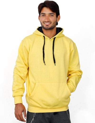 370 GSM, Heavy Fleece Pullover Hoodies For Men in Yellow Color